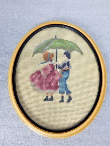 Vintage Needlepoint Umbrella Boy & Girl Picture Framed Lady Man Embroidery Loom