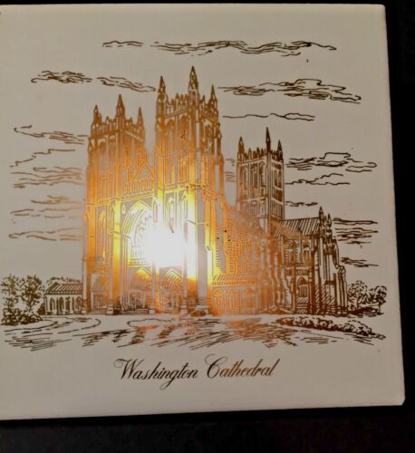 Vtg Washington Cathedral Souvenir Ceramic Tile Trivet  Beige Gold Gilt Design