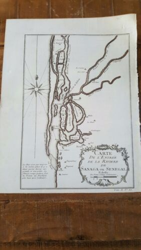 ANTIQUE MAP/Map Of The Entry to the River of Sanaga, Circa 1746 / N. Bellin