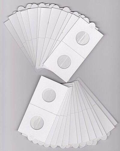 """LIGHTHOUSE 22.5mm SELF ADHESIVE 2""""x 2"""" COIN HOLDERS x 25 - SUIT $2 DOLLAR/2 CENT"""