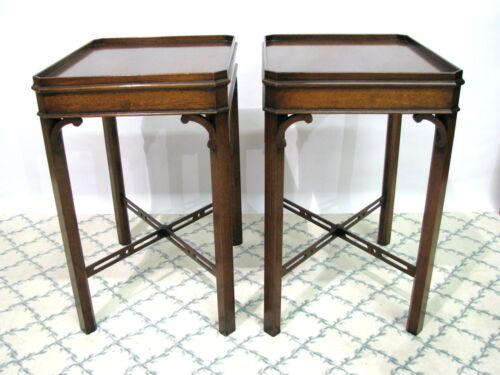 *PAIR* Mid-20th Century Mahogany Chippendale Style End Tables