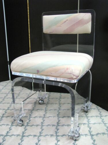 Stylish Vintage 1980's Lucite Boudoir Chair With Swivel Base, High End Piece