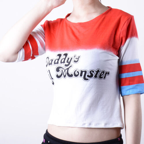 Suicide Squad Harley Quinn Daddy's Lil Monster Costume Cosplay T shirts XS-3XL