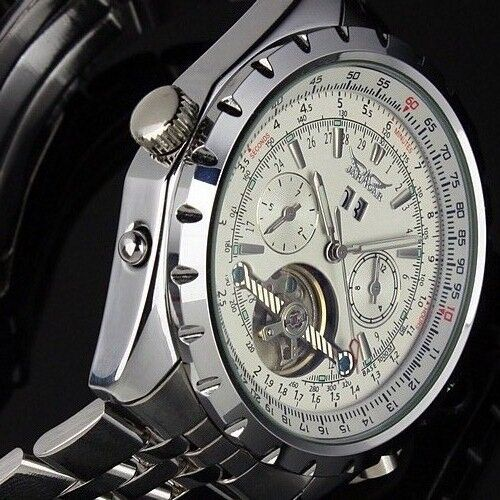 New Silver Skeleton Analog Mens Mechanical Automatic Wrist Steel Band Watch Date
