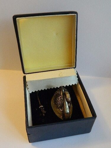 Vintage STERLING SILVER CRYSTAL Swan Salt Pepper Cellar with Spoon HUNGARY w BOX