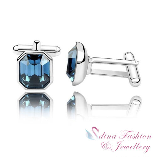 18K White Gold Plated Made With Swarovski Crystal Mens Charismatic Cufflinks
