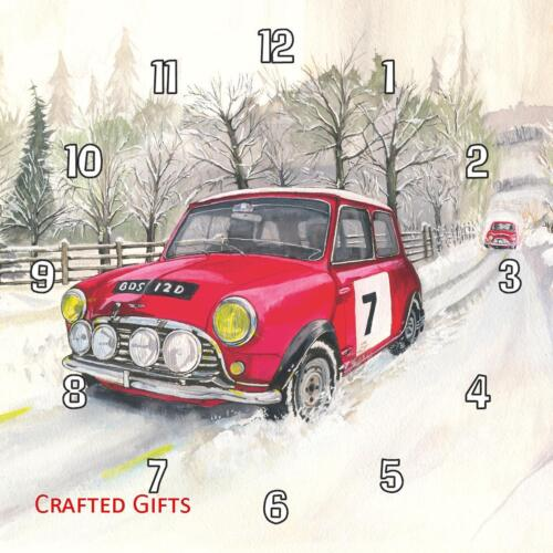 """Mini Rally Car in Snow by Sue Podbery Wall Clock 8"""" / 195mm"""