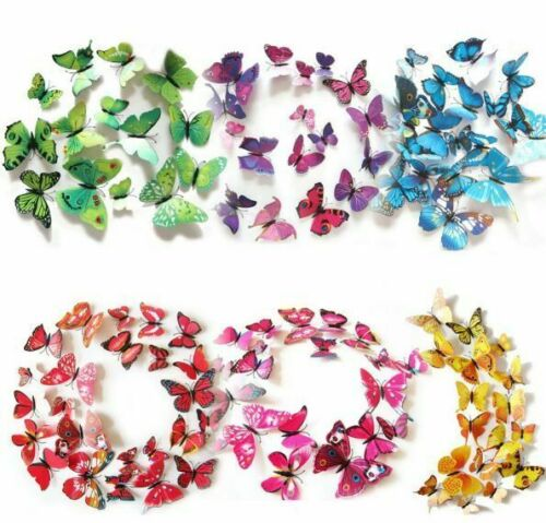 24pcs x 3D BUTTERFLY WALL STICKERS: Removable Decals Kids Nursery Wedding Decor