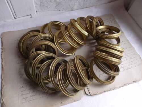 French set of 28 brass tole curtain rings antique patina of time