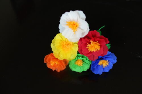 Mexican Crepe Paper Flowers set of 6 / Crafts/ Party By Julia