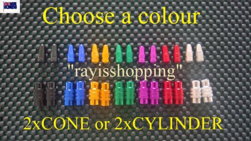 2 x CONE or CYLINDER Style Presta French Valve Caps Bicycle Bike Cool Colours