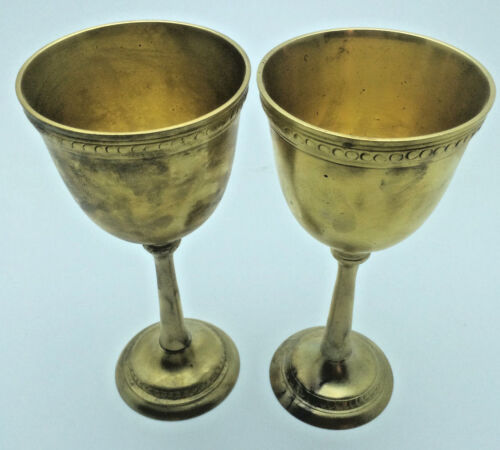 Antique Vintage Brass Silver Plate Wine Goblets Cleaned Made in India RNC0102