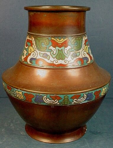 19th CENTURY CHINESE QING DYNASTY CLOISONNE ENAMEL & COPPER TAOTIE MASK VASE
