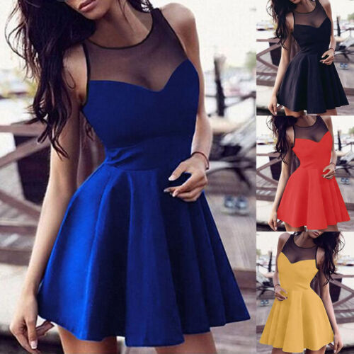 Women Summer Casual Sleeveless Evening Club Party Cocktail Lace Short Mini Dress