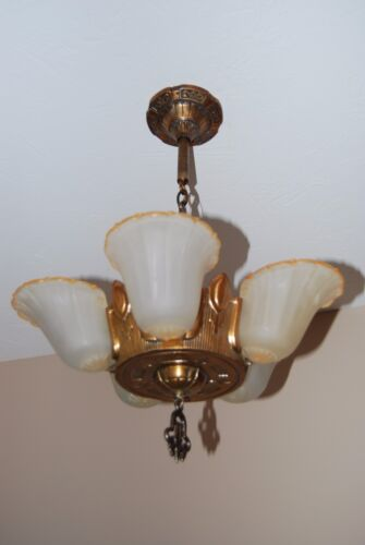 Art Deco Five Light Slip Shade Chandelier from the 1930's