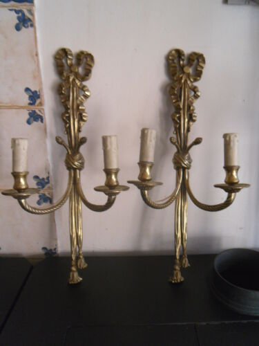 antique french : Pair of bronze sconces in louis xvi style 20.07 in