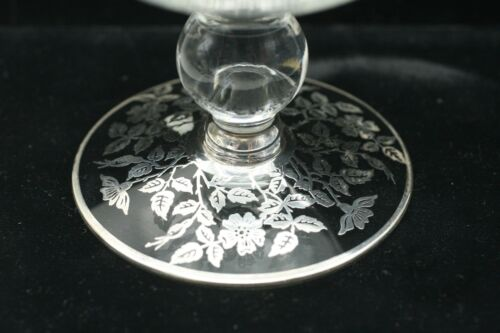 ART DECO  GLASS BOWL WITH  ROCKWELL STERLING SILVER OVERLAY