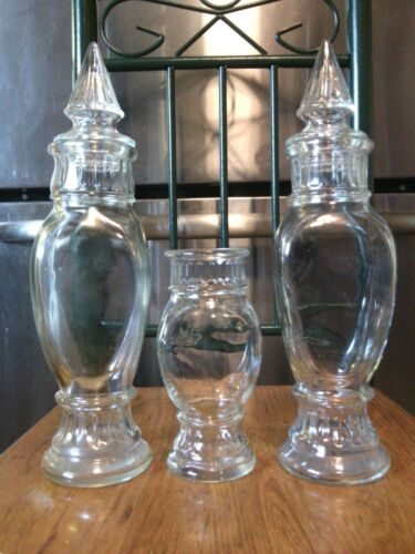 ANTIQUE (3) Vintage GLASS APOTHECARY JARS - Drugstore Display Vanity JARS