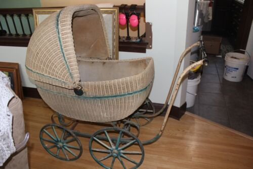 VINTAGE ANTIQUE  Tan with Blue Stripe Wicker CARRIAGE STROLLER BABY BUGGY