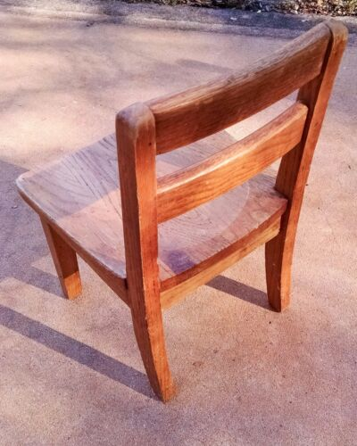 Vintage Child Wood School Chair Wooden Student Study Kid's Desk Church Library