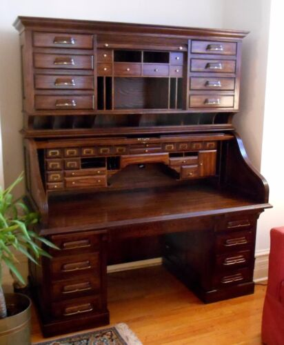 National Mount Airy CEO Solid Oak President's Style Roll Top Desk & Chair