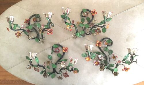 4 Piece Set Vintage Italian Metal Toleware Floral Candle Holder Wall Sconce