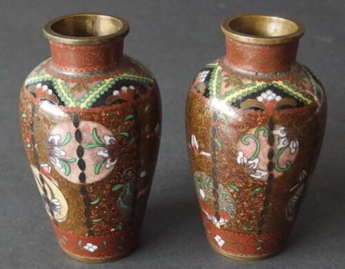 PAIR OF CHINESE CLOISONNE CABINET VASES Lot 37