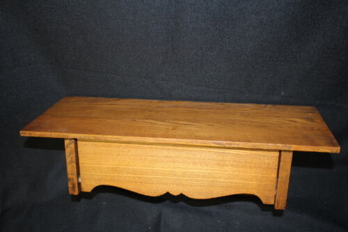 Antique Handmade Oak Wood Wall / Display Shelf with Pull Out Drawer, Circa 1920