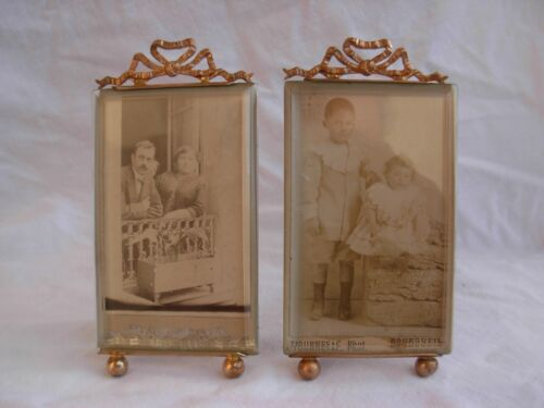 A PAIR OF ANTIQUE FRENCH BRASS BEVELED GLASS PHOTO FRAME,LATE 19th CENTURY.