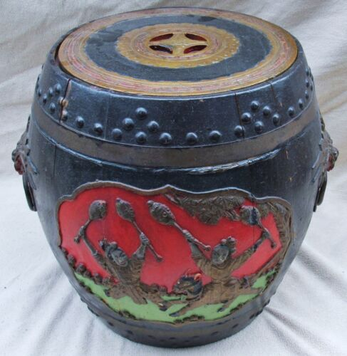 "Big 17"" Antique Chinese Carved Wood Container Painted Black, Gold, Red & Green"
