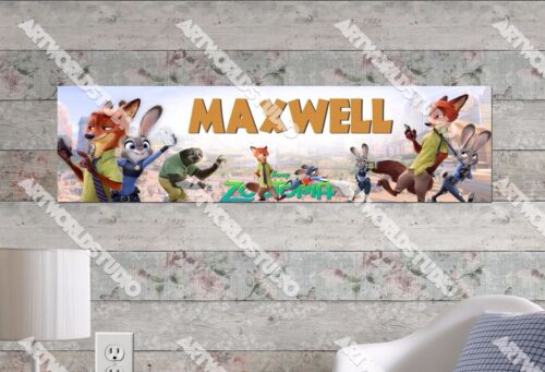 Personalized/Customized Zootopia Movie Name Poster Wall Art Decoration Banner