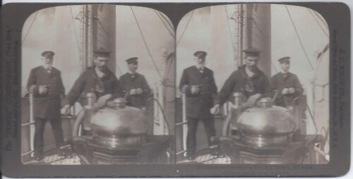 1900s H. C. WHITE STEREOVIEW CAPTAIN & 1ST OFFICER AT THE WHEEL S.S. COLUMBIA