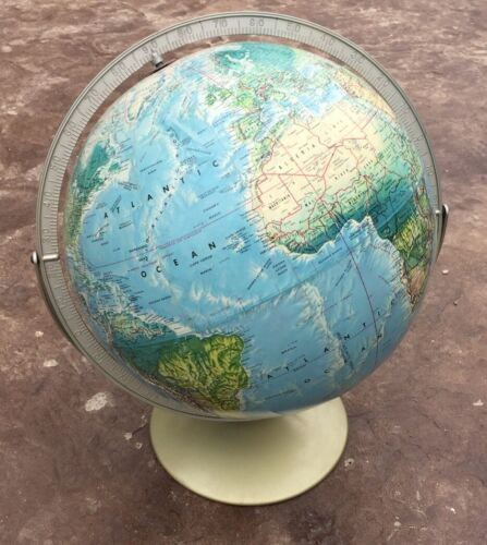 "Vintage Rand McNally World Portrait Globe Metal Base 12"" Raised Relief Dual Axis"
