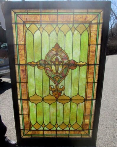 BEAUTIFUL V. LARGE 40 x 67 ANTIQUE STAINED GLASS WINDOW W/ JEWELS ESTATE # 622