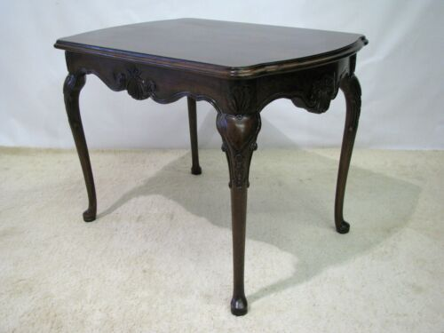 Karges Hand Carved Solid Walnut Louis XV Style End Table With Burl Veneer Top