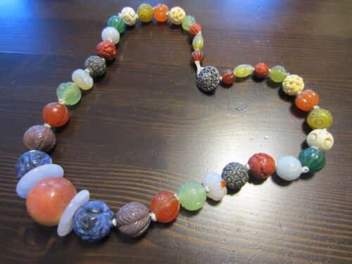 Gorgeous Chinese Carved Gemstone Shou Bead Jade Lapis Agate Cinabar etc Necklace
