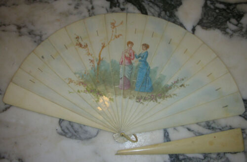 Late 1800s Hand painted Brisé Fan without the silk ribbon bakelite ?