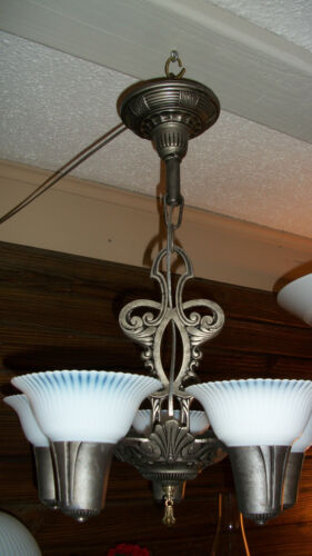 Vintage 5- light Pewter Finish 1920s-30s Style Chandelier/ Fixture