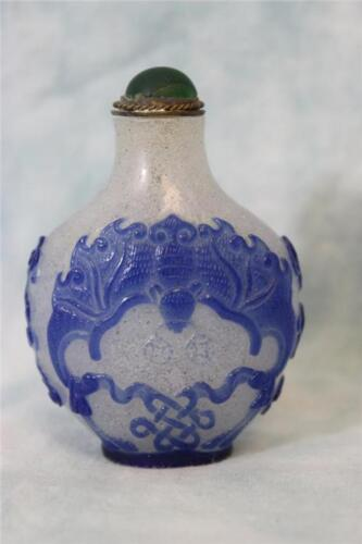 """Signed 3"""" Chinese Frosted white glass snuff bottle w.Blue Bat's Decor No Damage"""