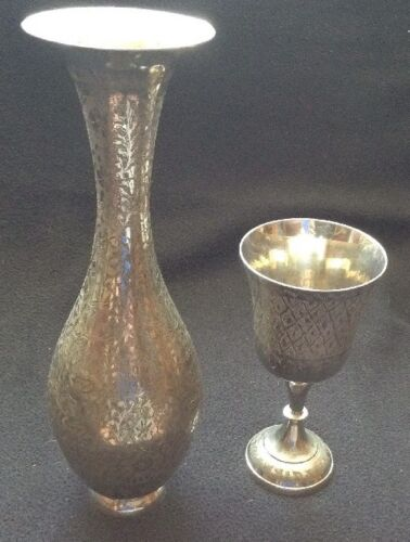 Vintage Vase & Goblet Silver Plate Brass Made in India