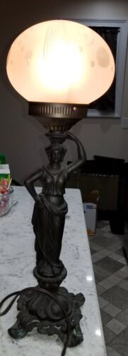 Grecian style Vintage Female Figure Lamp, bronze with vintage round glass shade