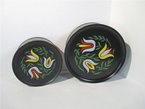 Tins Tole Tulips Biscuit Cookies Vintage Set of 2 Black Flower Guildcraft Dutch