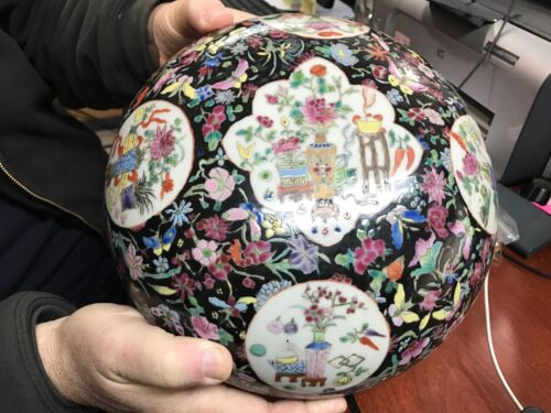 """EXTRA LARGE ANTIQUE CHINESE FAMILLE ROSE NOIR COVERED JAR BOWL BOX MARKED 10.4"""""""