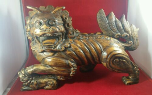"""VINTAGE CHINESE HANDCARVED WOODEN STATUE, FOO DOG/LION, AMAZING DETAIL 14"""" VGC"""