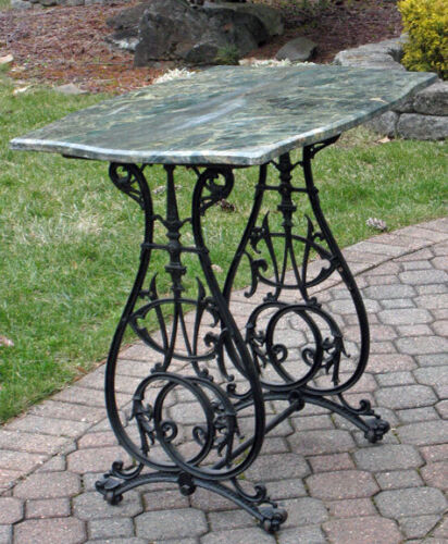 Antique IRON BASE TABLE w / MARBLE TOP  ****stunning*** WILCOX GIBBS