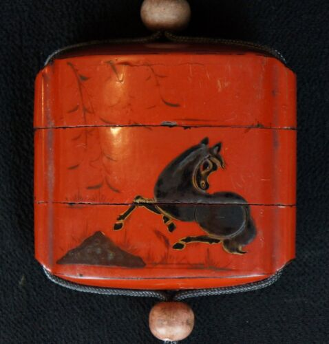 Antique Samurai Inro medicine box 1800s Japanese historical lacquer craft