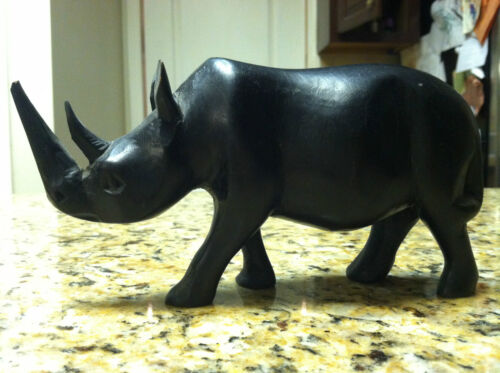 Antique wood carved rhinoceros asian wooden Asia rare vintage old statue rhino