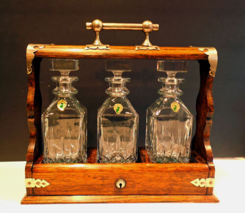 antique OAK TANTALUS w/ WATERFORD Decanters - LIQUOR CABINET W/ KEY