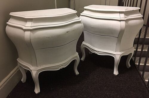 Vintage 50s/60s Pair Of Italian Bombe Commodes/Nightstands Baroque Wood White