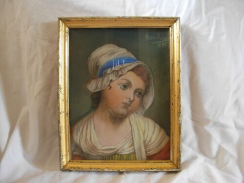 ANTIQUE FRENCH PASTEL PAINTING,SIGNED,LATE 19th CENTURY.